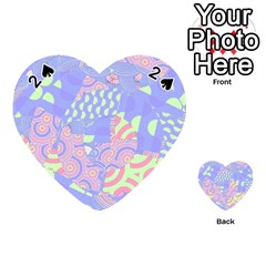 Girls Bright Pastel Abstract Blue Pink Green Playing Cards 54 (Heart)