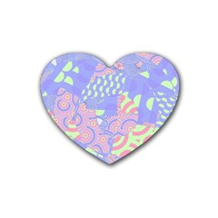 Girls Bright Pastel Abstract Blue Pink Green Rubber Coaster (heart)