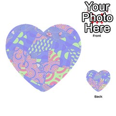 Girls Bright Pastel Abstract Blue Pink Green Multi-purpose Cards (Heart)