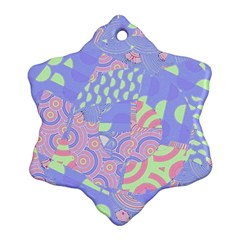 Girls Bright Pastel Abstract Blue Pink Green Snowflake Ornament (Two Sides)