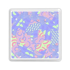 Girls Bright Pastel Abstract Blue Pink Green Memory Card Reader (square)