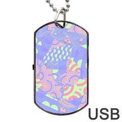 Girls Bright Pastel Abstract Blue Pink Green Dog Tag Usb Flash (one Side)