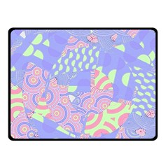 Girls Bright Pastel Abstract Blue Pink Green Double Sided Fleece Blanket (small)