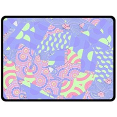 Girls Bright Pastel Abstract Blue Pink Green Double Sided Fleece Blanket (Large)