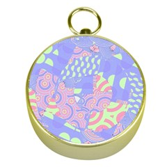 Girls Bright Pastel Abstract Blue Pink Green Gold Compass