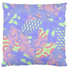 Girls Bright Pastel Abstract Blue Pink Green Large Flano Cushion Case (One Side)