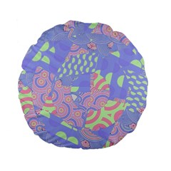 Girls Bright Pastel Abstract Blue Pink Green Standard 15  Premium Flano Round Cushion