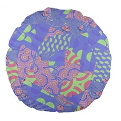 Girls Bright Pastel Abstract Blue Pink Green Large 18  Premium Flano Round Cushion
