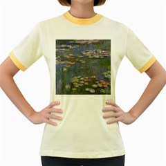 Claude Monet   Water Lilies Women s Fitted Ringer T-Shirts