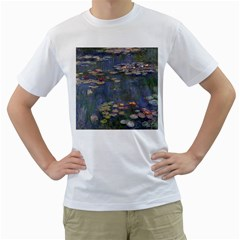 Claude Monet   Water Lilies Men s T-Shirt (White) (Two Sided)