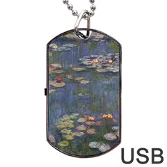 Claude Monet   Water Lilies Dog Tag Usb Flash (one Side)