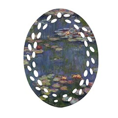 Claude Monet   Water Lilies Oval Filigree Ornament (2-Side)