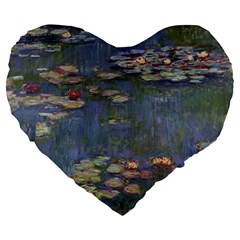 Claude Monet   Water Lilies Large 19  Premium Flano Heart Shape Cushions