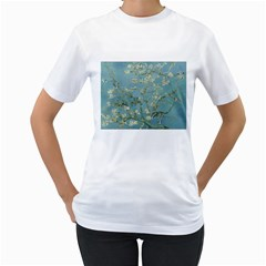 Almond Blossom Tree Women s T Shirt (white) (two Sided)
