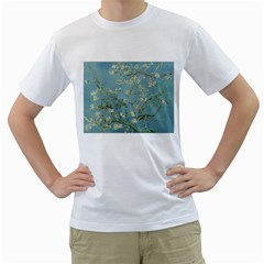 Almond Blossom Tree Men s T-Shirt (White) (Two Sided)