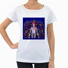 Robot Butterfly Women s Loose-Fit T-Shirt (White)