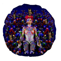 Robot Butterfly Large 18  Premium Flano Round Cushions
