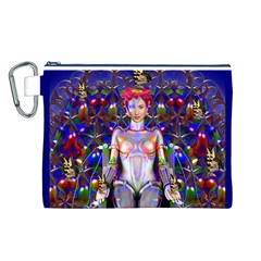 Robot Butterfly Canvas Cosmetic Bag (L)