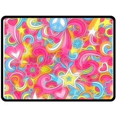 Hippy Peace Swirls Fleece Blanket (Large)