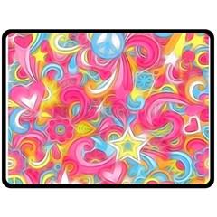 Hippy Peace Swirls Fleece Blanket (large)