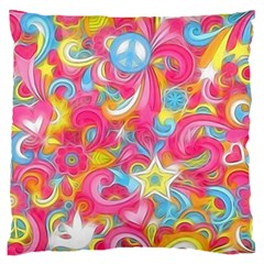 Hippy Peace Swirls Large Flano Cushion Cases (Two Sides)