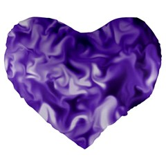 Lavender Smoke Swirls Large 19  Premium Flano Heart Shape Cushion