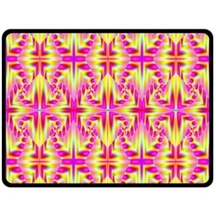 Pink and Yellow Rave Pattern Fleece Blanket (Large)