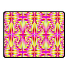 Pink And Yellow Rave Pattern Fleece Blanket (small)