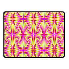 Pink and Yellow Rave Pattern Double Sided Fleece Blanket (Small)
