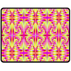 Pink and Yellow Rave Pattern Double Sided Fleece Blanket (Medium)