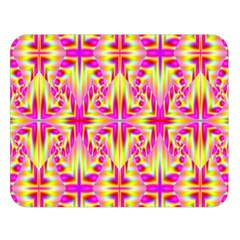 Pink and Yellow Rave Pattern Double Sided Flano Blanket (Large)
