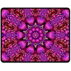 Pink Fractal Kaleidoscope  Double Sided Fleece Blanket (Medium)