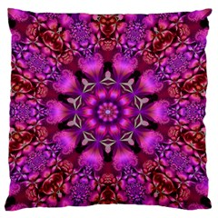 Pink Fractal Kaleidoscope  Large Flano Cushion Cases (One Side)