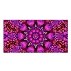 Pink Fractal Kaleidoscope  Satin Shawl