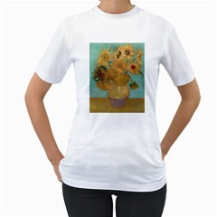 Vincent Willem Van Gogh, Dutch   Sunflowers   Google Art Project Women s T Shirt (white) (two Sided)