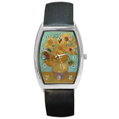 Vincent Willem Van Gogh, Dutch   Sunflowers   Google Art Project Barrel Metal Watches