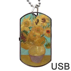 Vincent Willem Van Gogh, Dutch   Sunflowers   Google Art Project Dog Tag USB Flash (Two Sides)