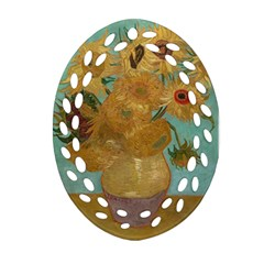 Vincent Willem Van Gogh, Dutch   Sunflowers   Google Art Project Oval Filigree Ornament (2 Side)