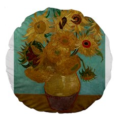 Vincent Willem Van Gogh, Dutch   Sunflowers   Google Art Project Large 18  Premium Round Cushions