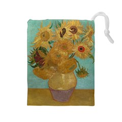 Vincent Willem Van Gogh, Dutch   Sunflowers   Google Art Project Drawstring Pouches (Large)