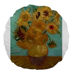 Vincent Willem Van Gogh, Dutch   Sunflowers   Google Art Project Large 18  Premium Flano Round Cushions