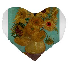 Vincent Willem Van Gogh, Dutch   Sunflowers   Google Art Project Large 19  Premium Flano Heart Shape Cushions