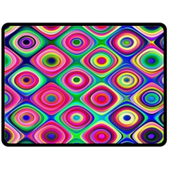 Psychedelic Checker Board Double Sided Fleece Blanket (large)