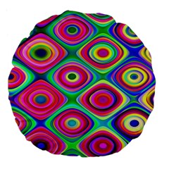 Psychedelic Checker Board Large 18  Premium Flano Round Cushions