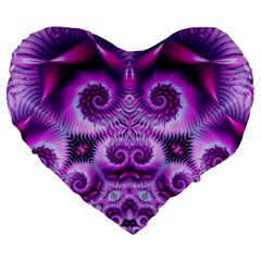 Purple Ecstasy Fractal Artwork Large 19  Premium Flano Heart Shape Cushions
