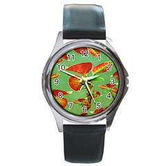Tropical Floral Print Round Metal Watches
