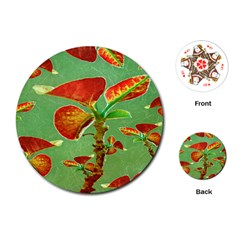 Tropical Floral Print Playing Cards (Round)