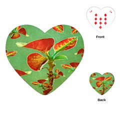 Tropical Floral Print Playing Cards (Heart)