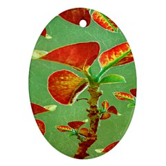 Tropical Floral Print Oval Ornament (two Sides)
