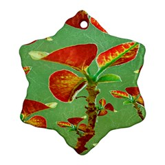 Tropical Floral Print Snowflake Ornament (2 Side)
